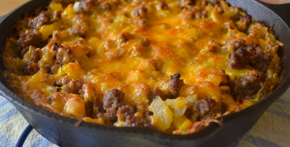 Vern's camper's Wisconsin cheddar cheese and sausage breakfast hash recipe
