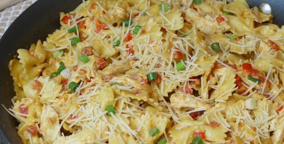 Vern's cheesy chicken pasta with Wisconsin parmesan cheese recipe
